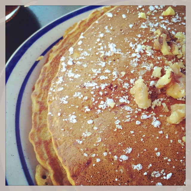 Pumpkin Pancakes from BJ's mom's cafe! Yum! #airportcafe #pumpkinpancakes