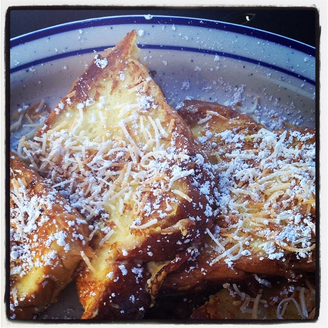 My fave - Orange Coconut French Toast. Amazing! #airportcafe #frenchtoast