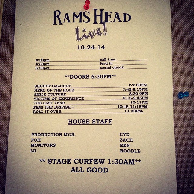 Rams Head lineup tonight. Tix only $10!!